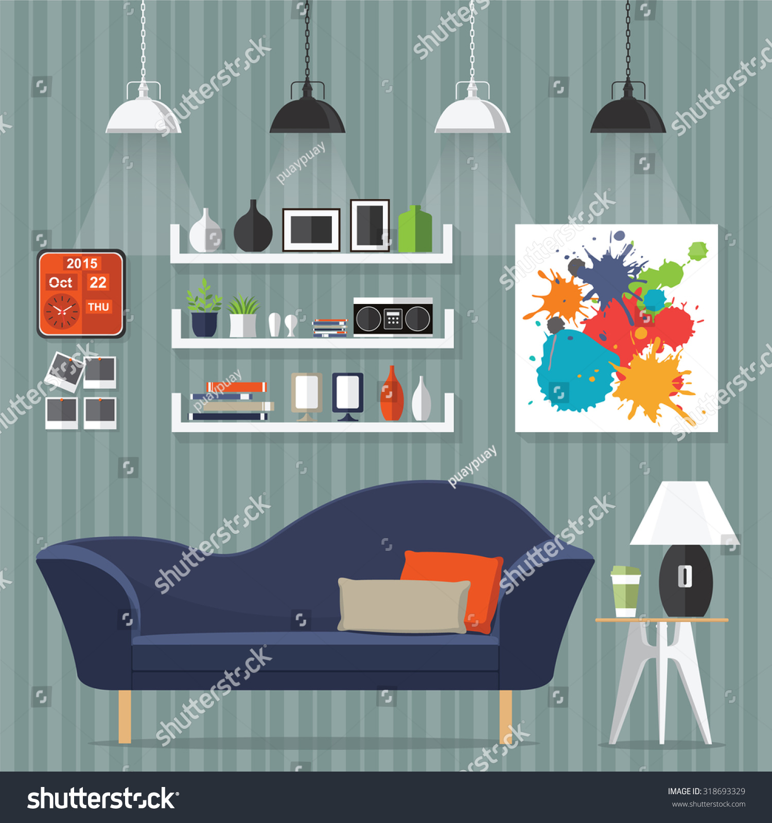 Interior Living Room With Sofa Clock Shelf Books And A Flat Style Vector