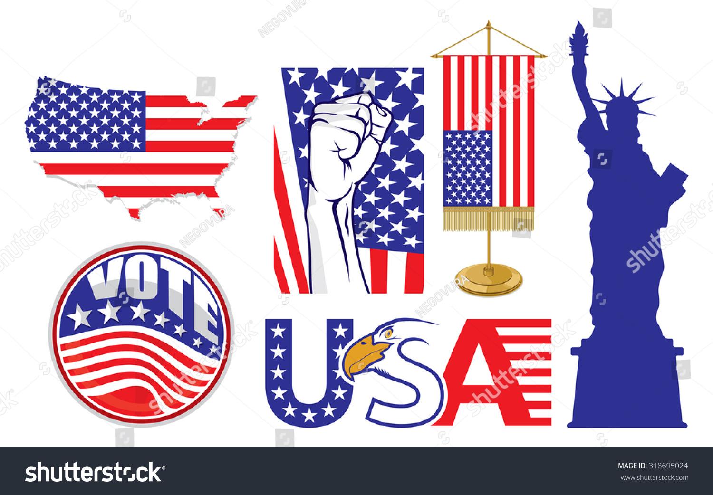 Usa Symbols Vector Stock Vector Royalty Free 318695024 Shutterstock