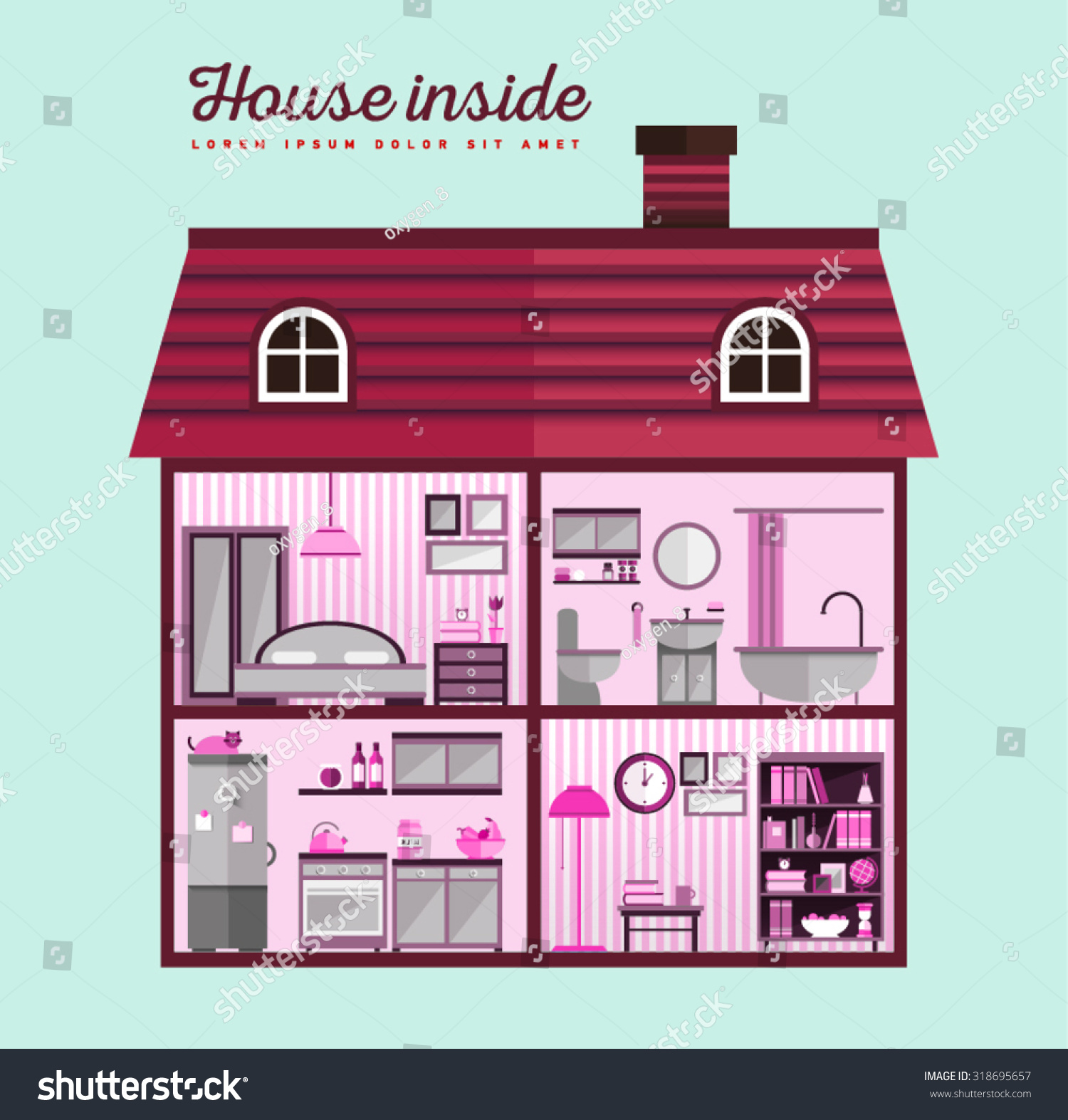 House Cut Detailed Modern Interior Stock Vector