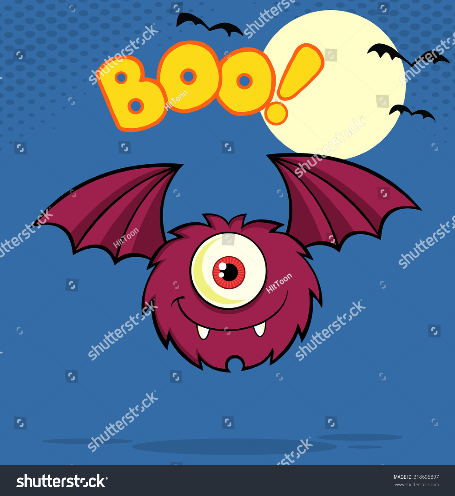 1 Eyed Cartoon Characters : Furry one eyed monster cartoon character flying with text