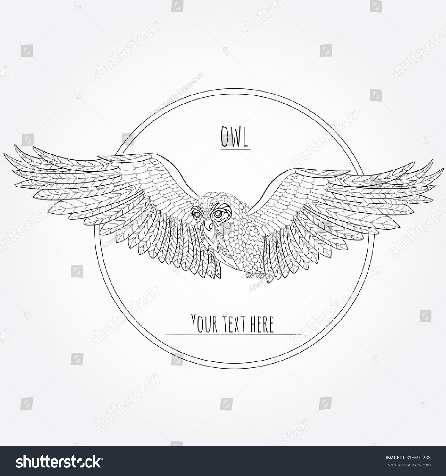 Logo Emblem Owl Wisdom Line Drawing Flight Wingspan Anti Stress