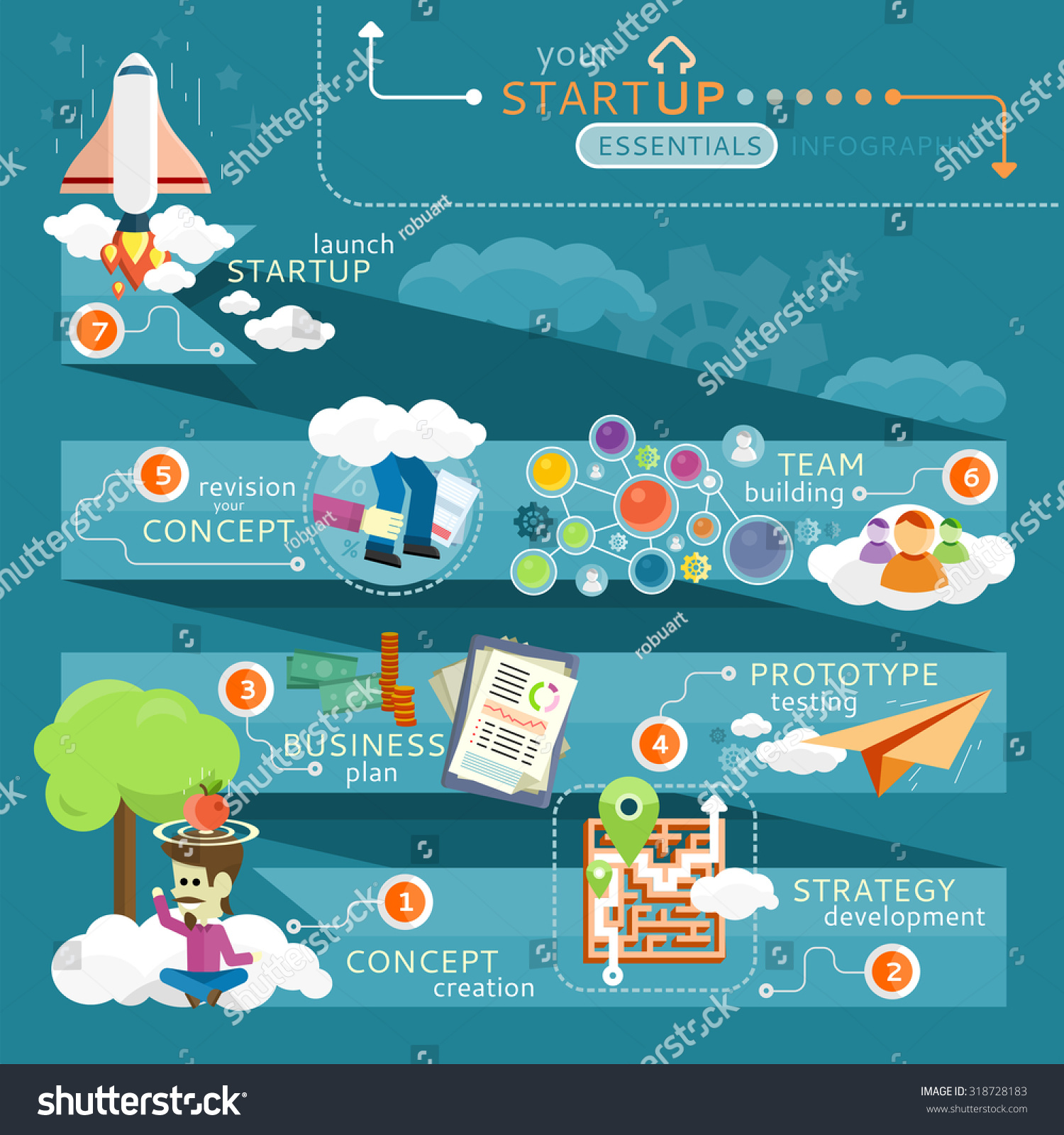 Motivational Quotes For Sports Teams: Chain Launch Startup Concept. Infographic And Team