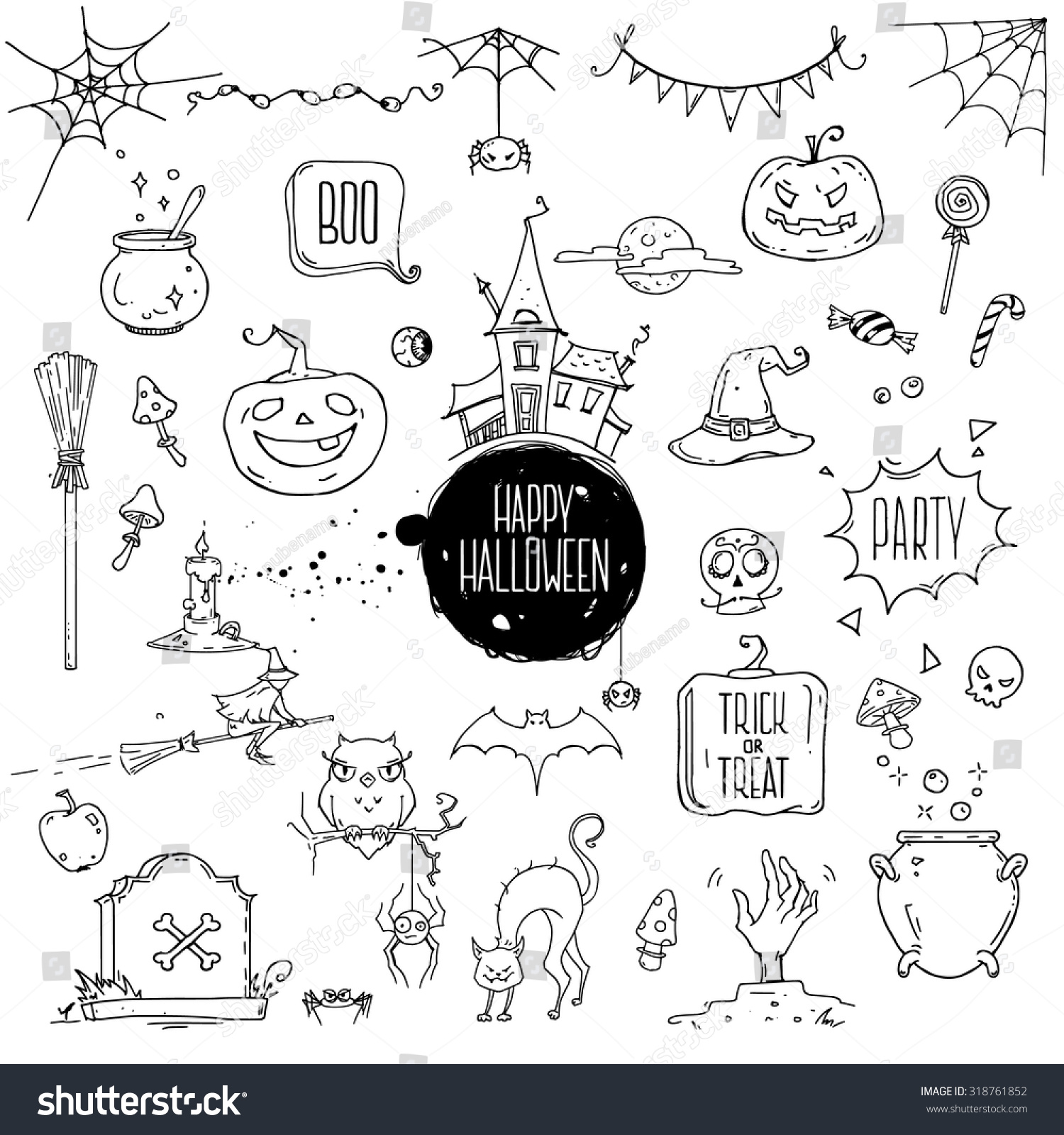 Halloween symbols hand drawn traditional illustrations