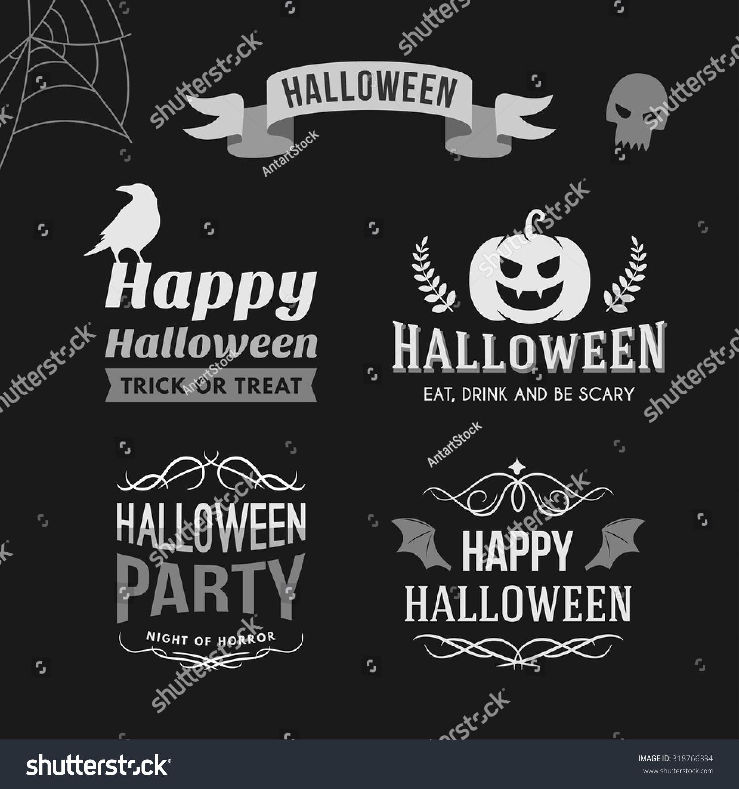 Retro Vintage Halloween Clip Art.Set Retro Vintage Halloween Badges Black Stock Vector Royalty Free