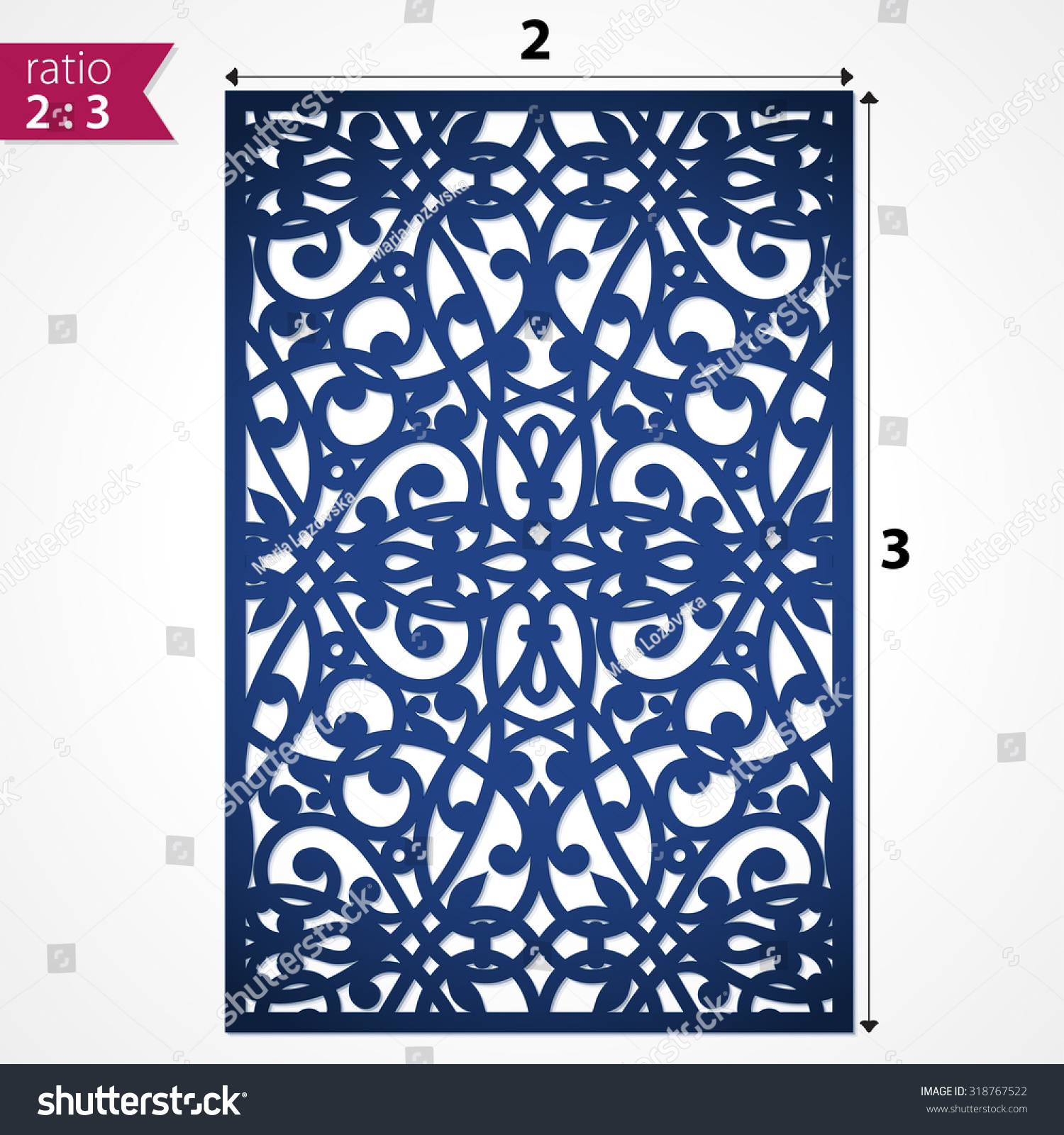 Lazer Cut Card. Silhouette Pattern. Cutout Paperwork. Cabinet Fretwork  Panel. Filigree Decorative Pattern. Lasercut Metal Panel. Wood Carving.  Stock Photo
