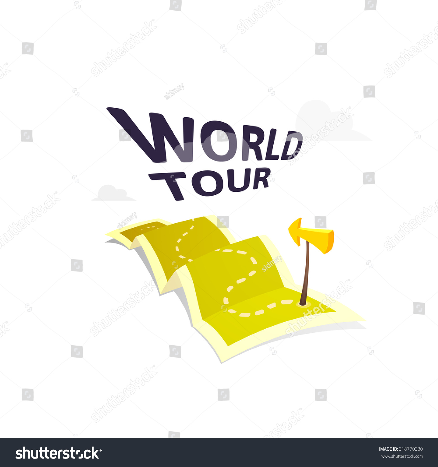 World Tour Concept Logo Isolated On Vector 318770330 – Travel Marker Map