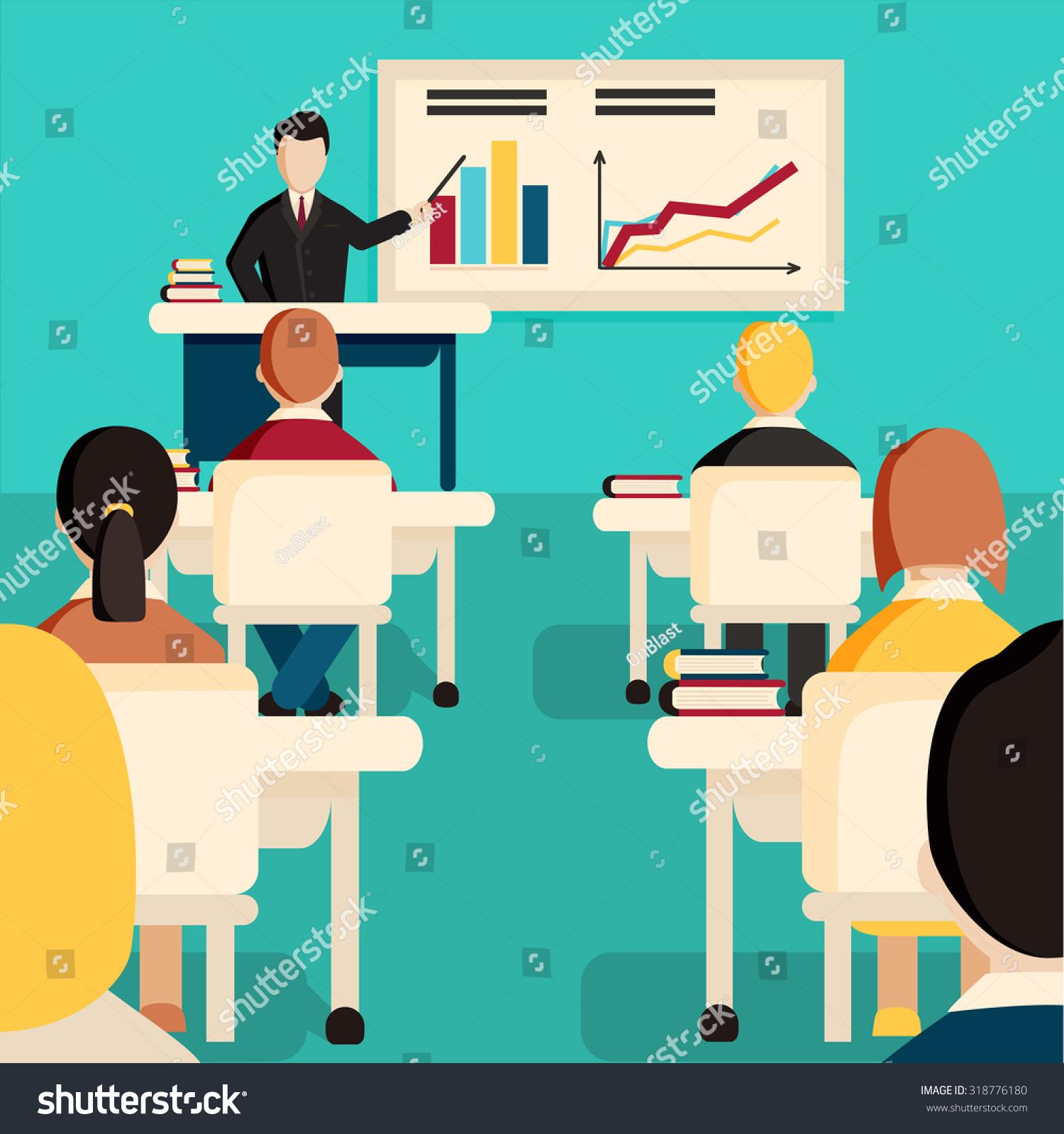 education classroom vector illustration students in