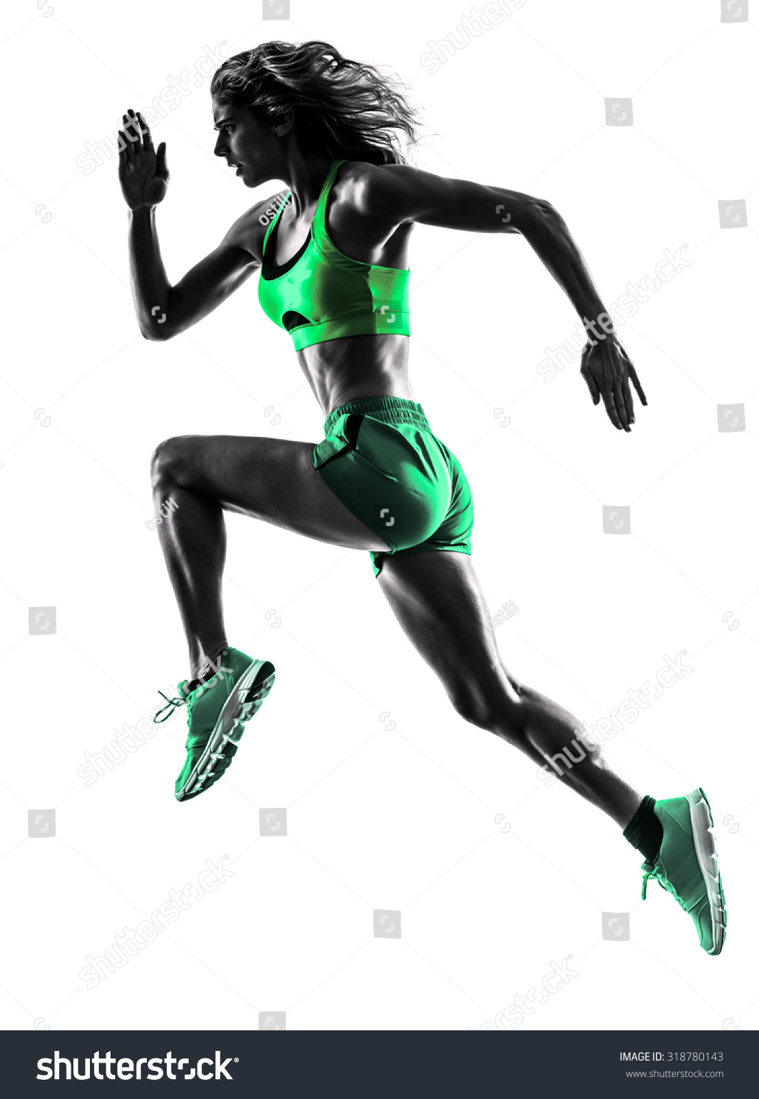 Runner running white background