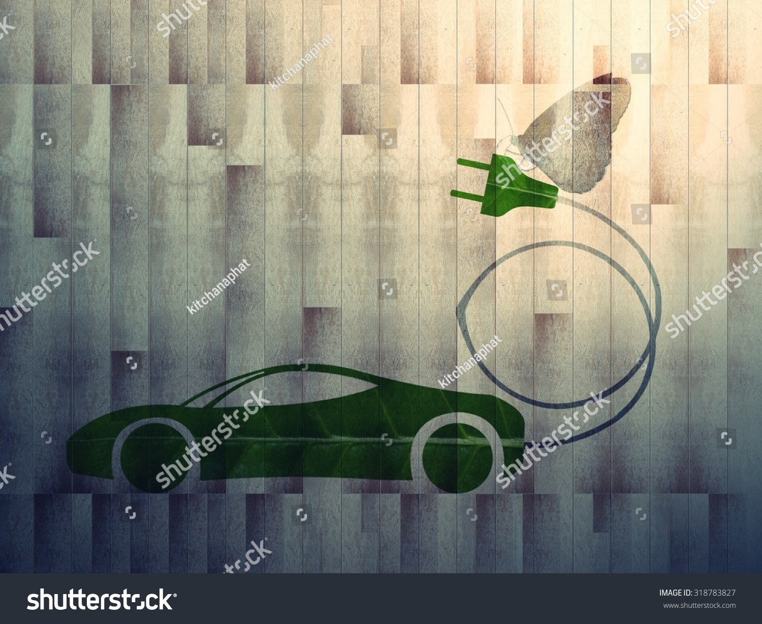 Royalty Free Green Leaf With A Cut Out Car Symbol On 318783827