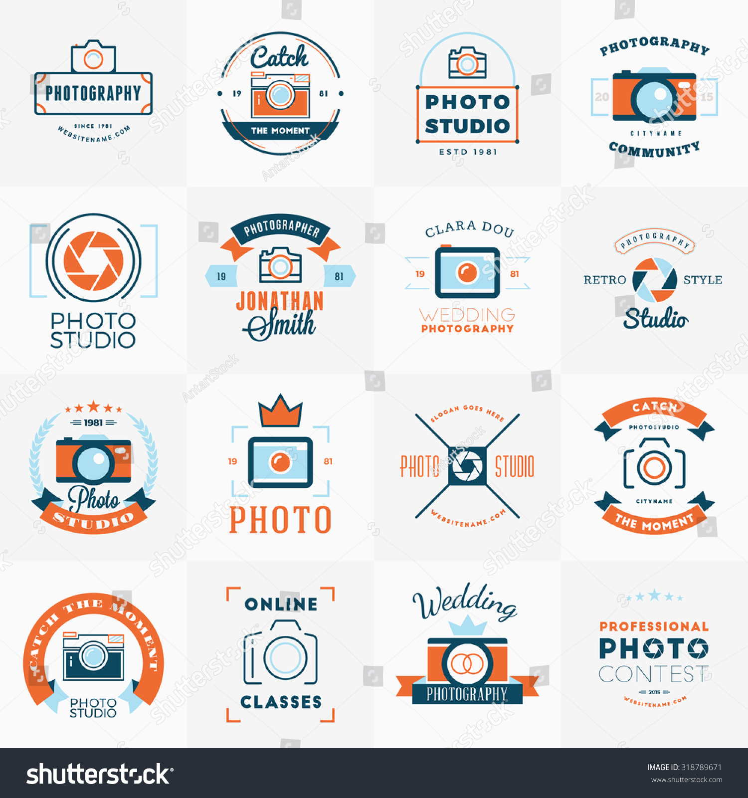 Wedding Photography Studio Logo: Vector Set Photography Logo Design Templates Stock Vector