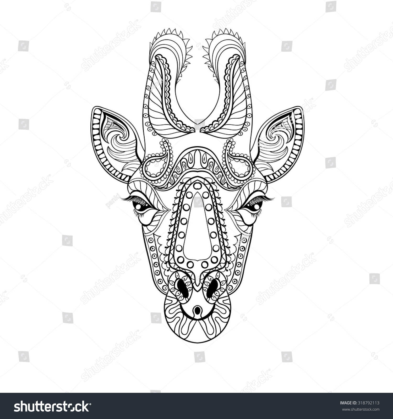 zentangle giraffe head totem anti stock vector 318792113