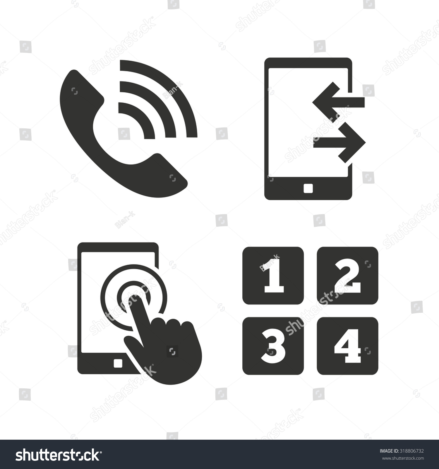 Phone icons touch screen smartphone sign stock vector 318806732 phone icons touch screen smartphone sign call center support symbol cellphone keyboard symbol biocorpaavc Gallery