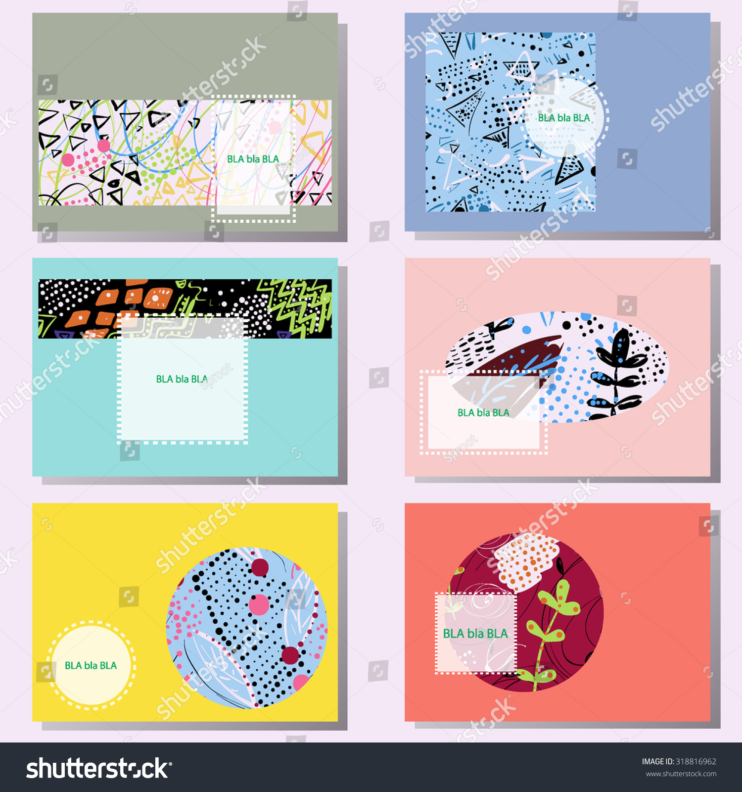 Wedding invitation business cards gallery free business cards wedding invitation business cards gallery free business cards set 6 creative cards hand drawn stock vector magicingreecefo Choice Image