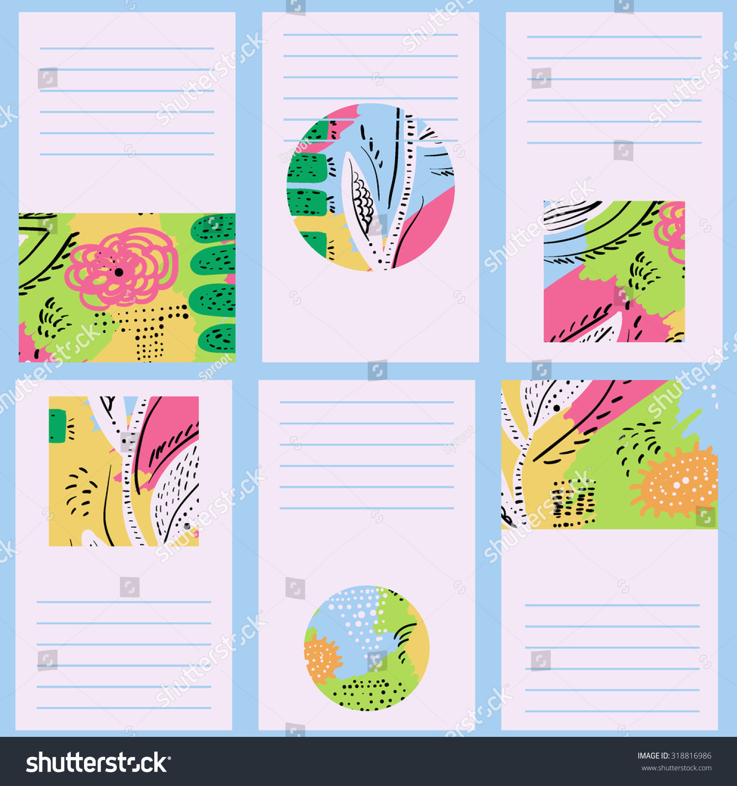 Set 6 creative cards hand drawn stock vector 318816986 shutterstock set of 6 creative cards hand drawn doodle textures birthday wedding invitation magicingreecefo Choice Image