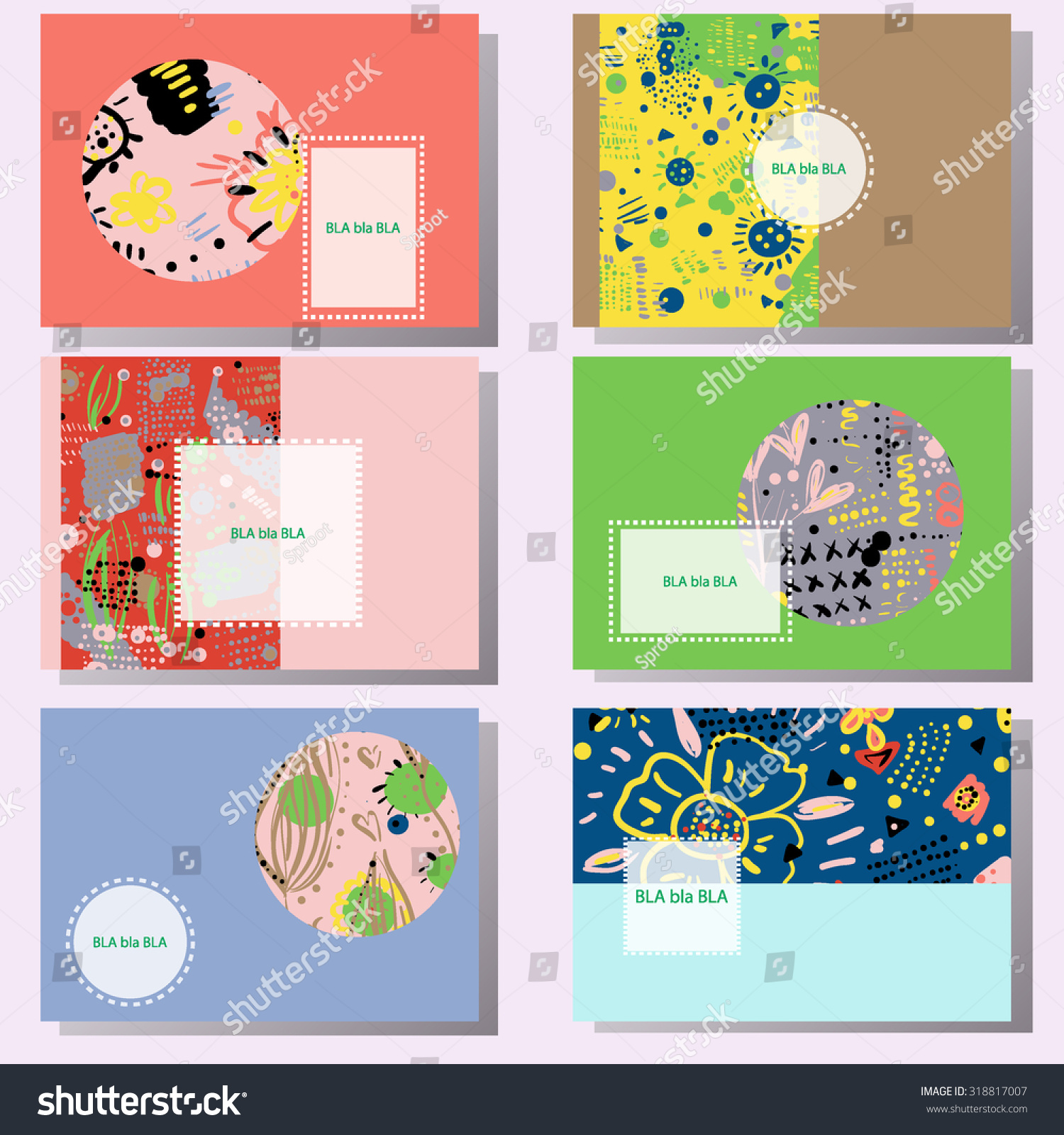 Set 6 creative cards hand drawn stock vector 318817007 shutterstock set of 6 creative cards hand drawn doodle textures birthday wedding invitation magicingreecefo Choice Image