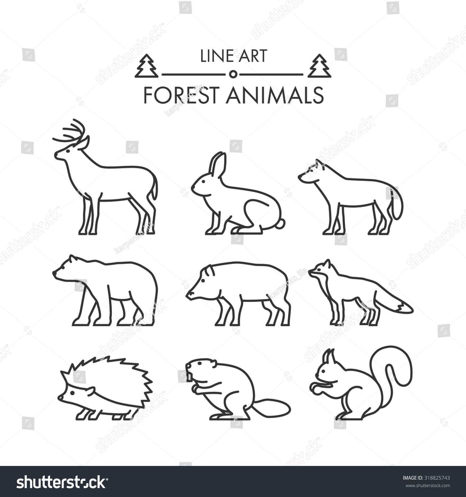 outline figures forest animals vector icon stock vector 318825743