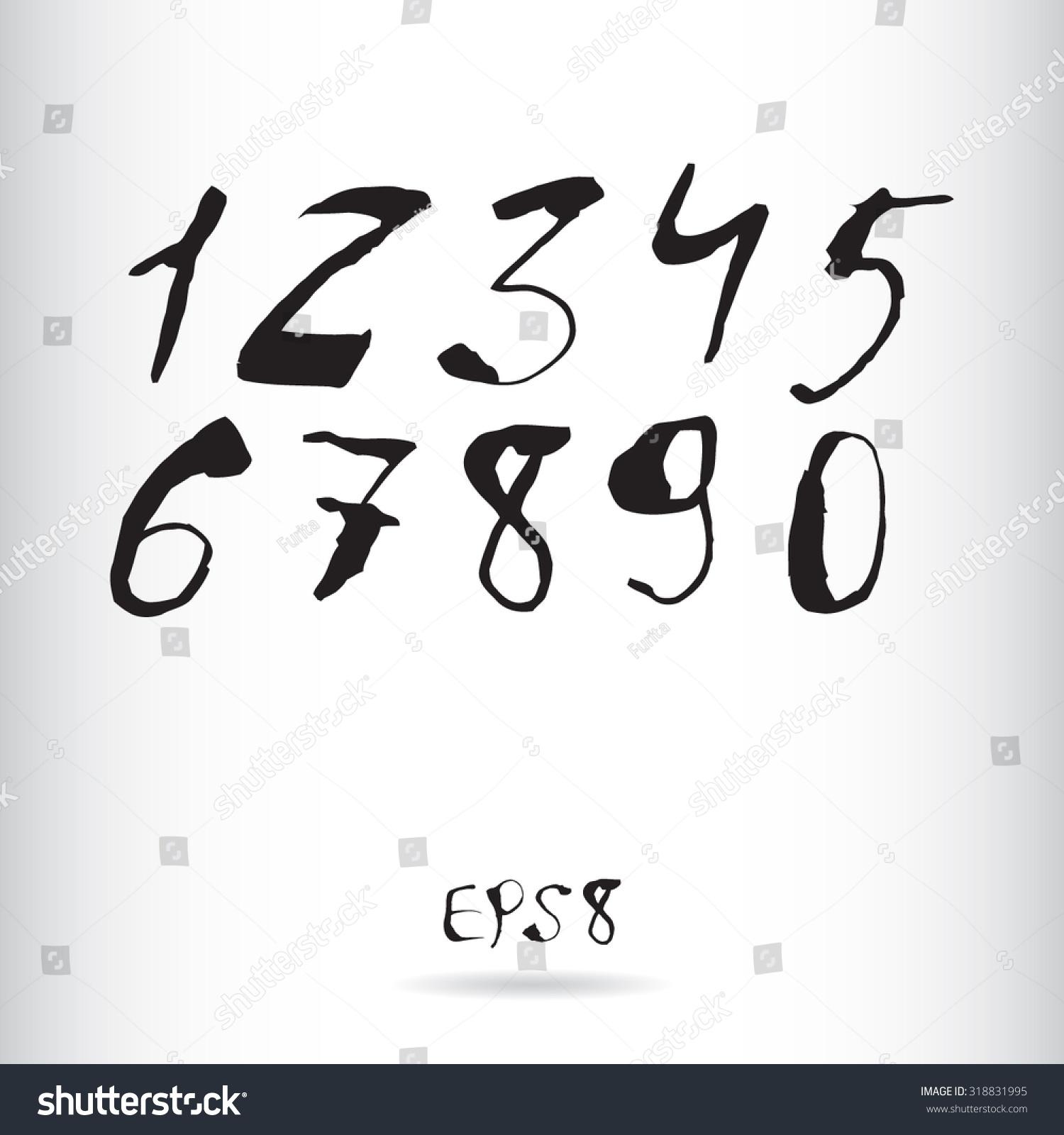 Vector Ink Numbers Watercolor Numbers Calligraphy Stock