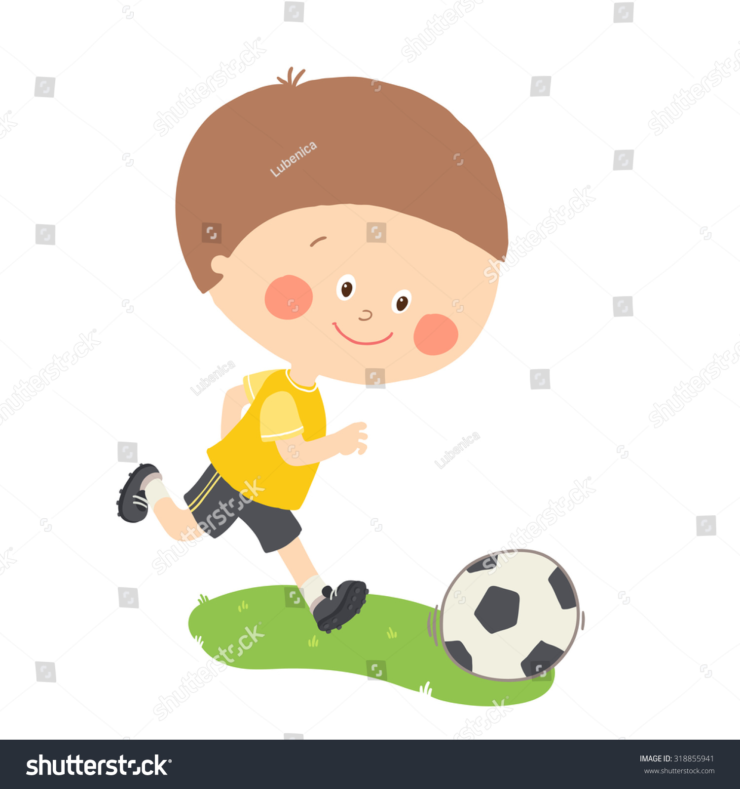 Little Boy Playing Soccer Child Kicking Stock Vector