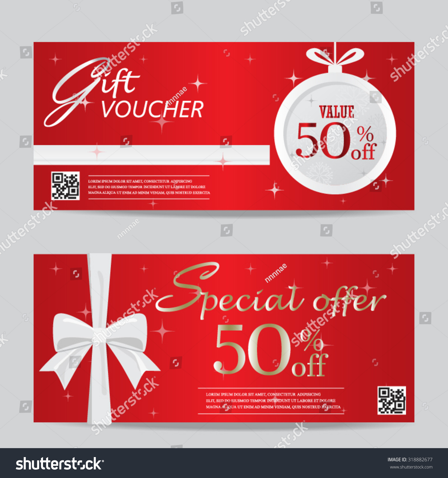 red christmas new year gift voucher stock vector 318882677 red christmas and new year gift voucher certificate coupon template can be use for business