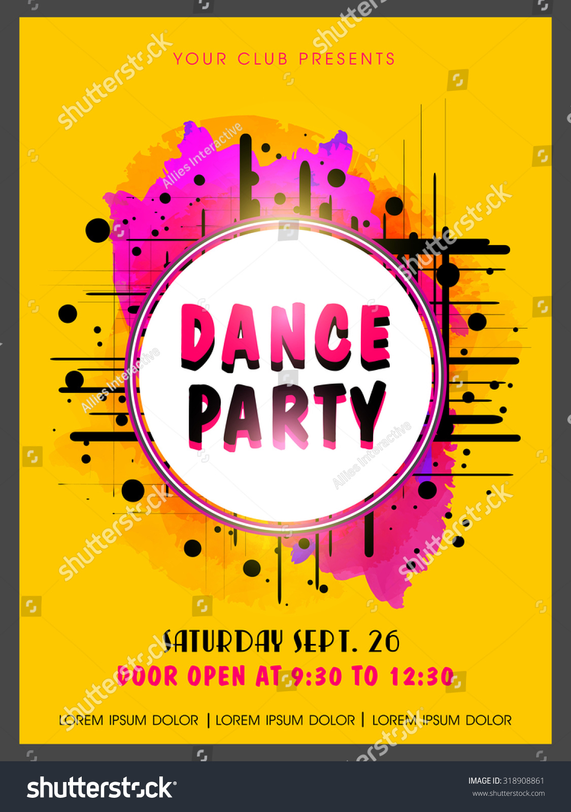 Creative Abstract Dance Party Flyer Template Stock Vector Royalty Free 318908861