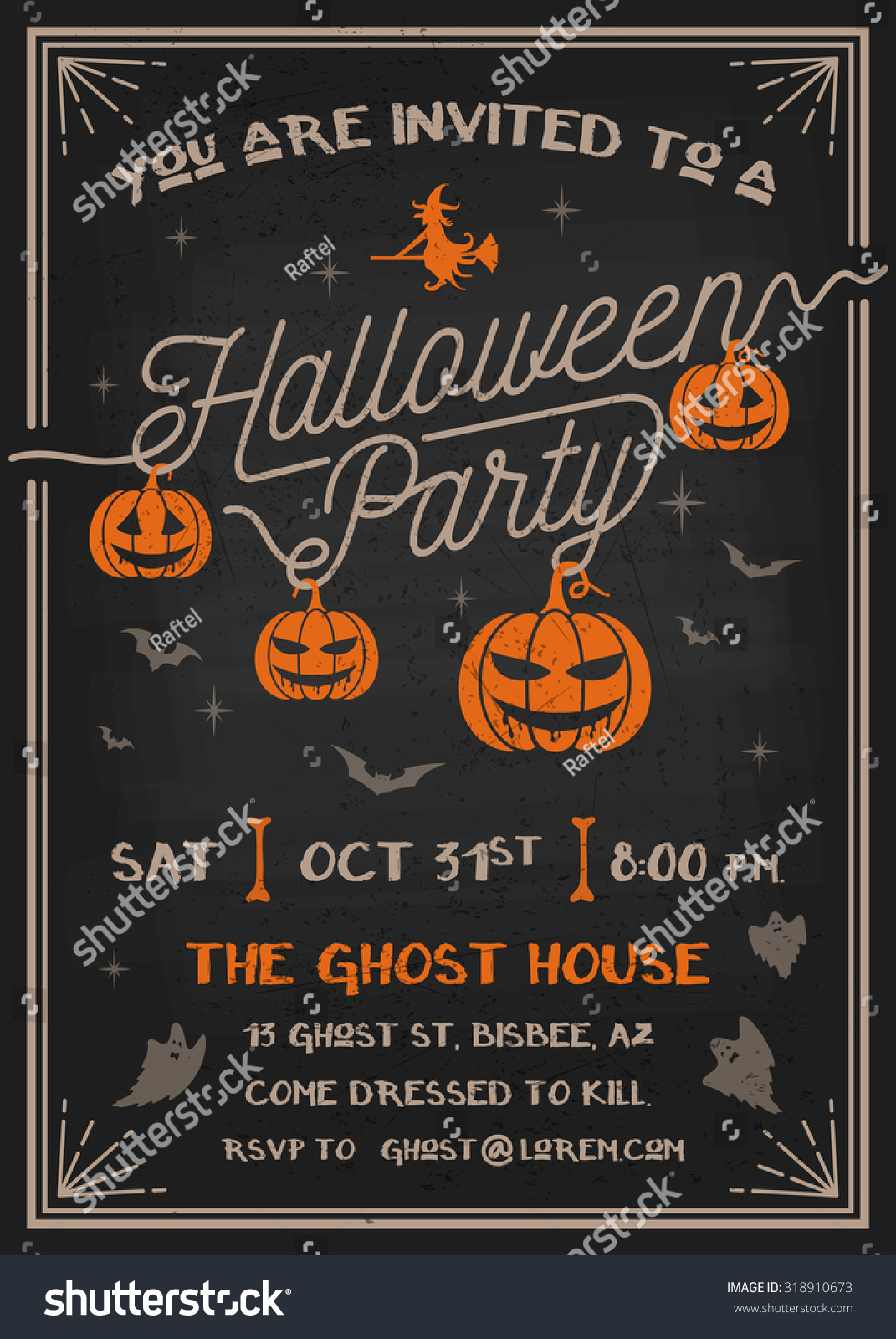 Typography Halloween Party Invitation Card Scary Stock Vector ...