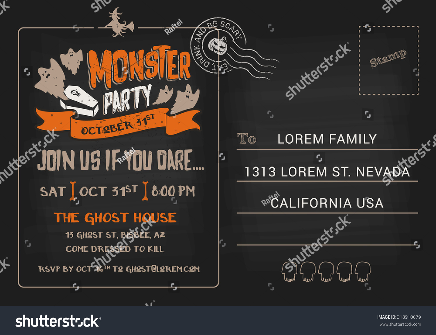 halloween monster party postcard invitation template stock vector hd