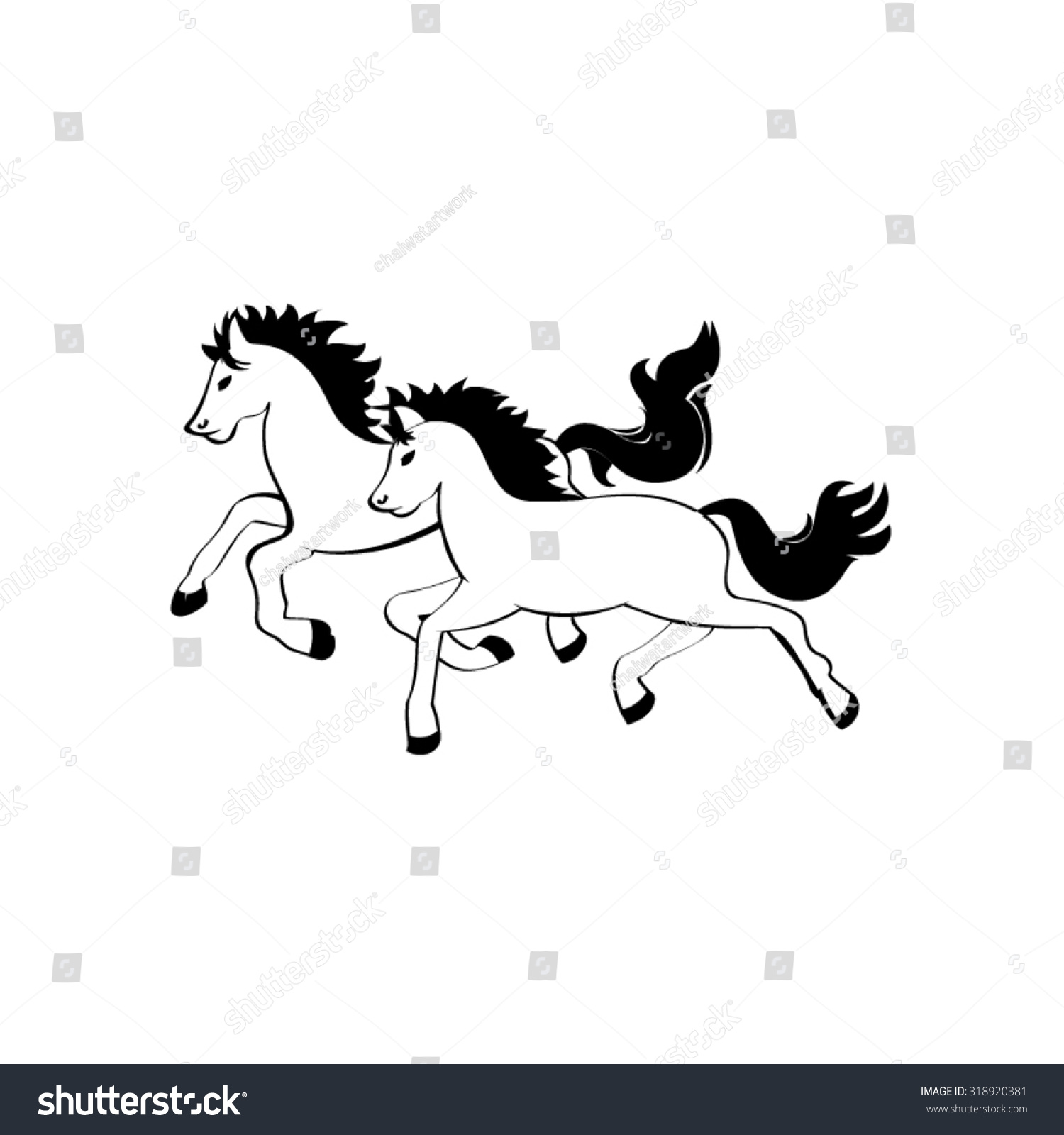 Line Drawing Two Horses Stock Vector Royalty Free 318920381