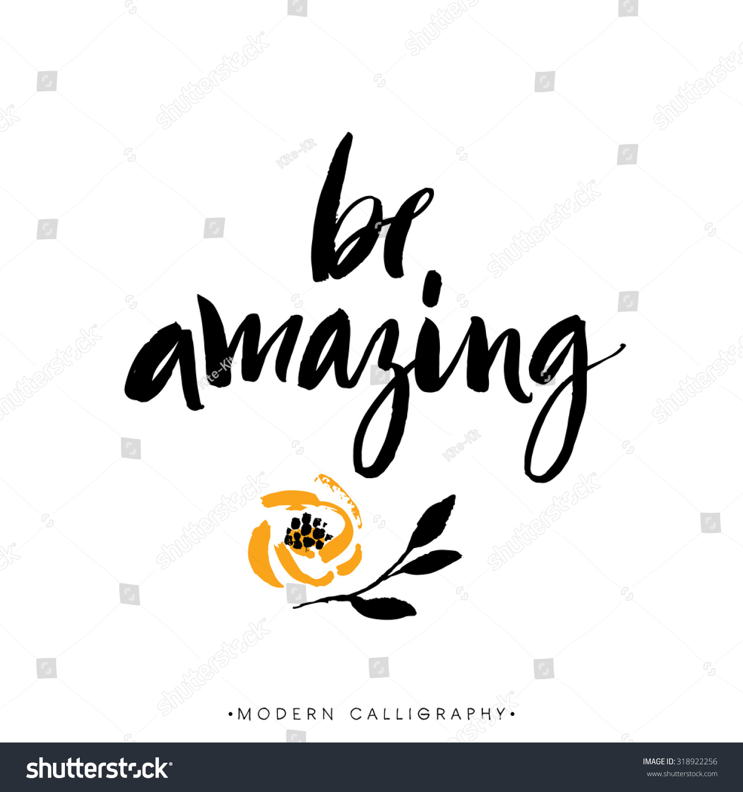 Be Amazing Modern Brush Calligraphy Handwritten Stock