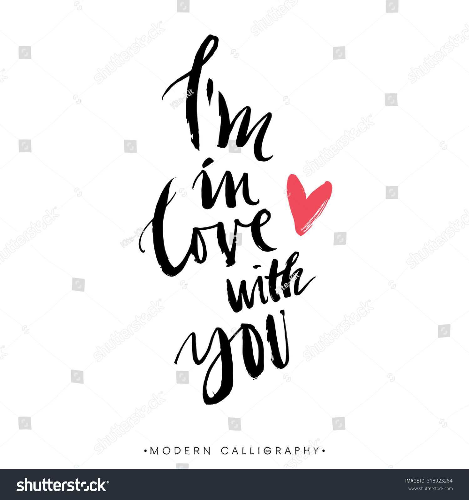 I m in love with you modern brush calligraphy