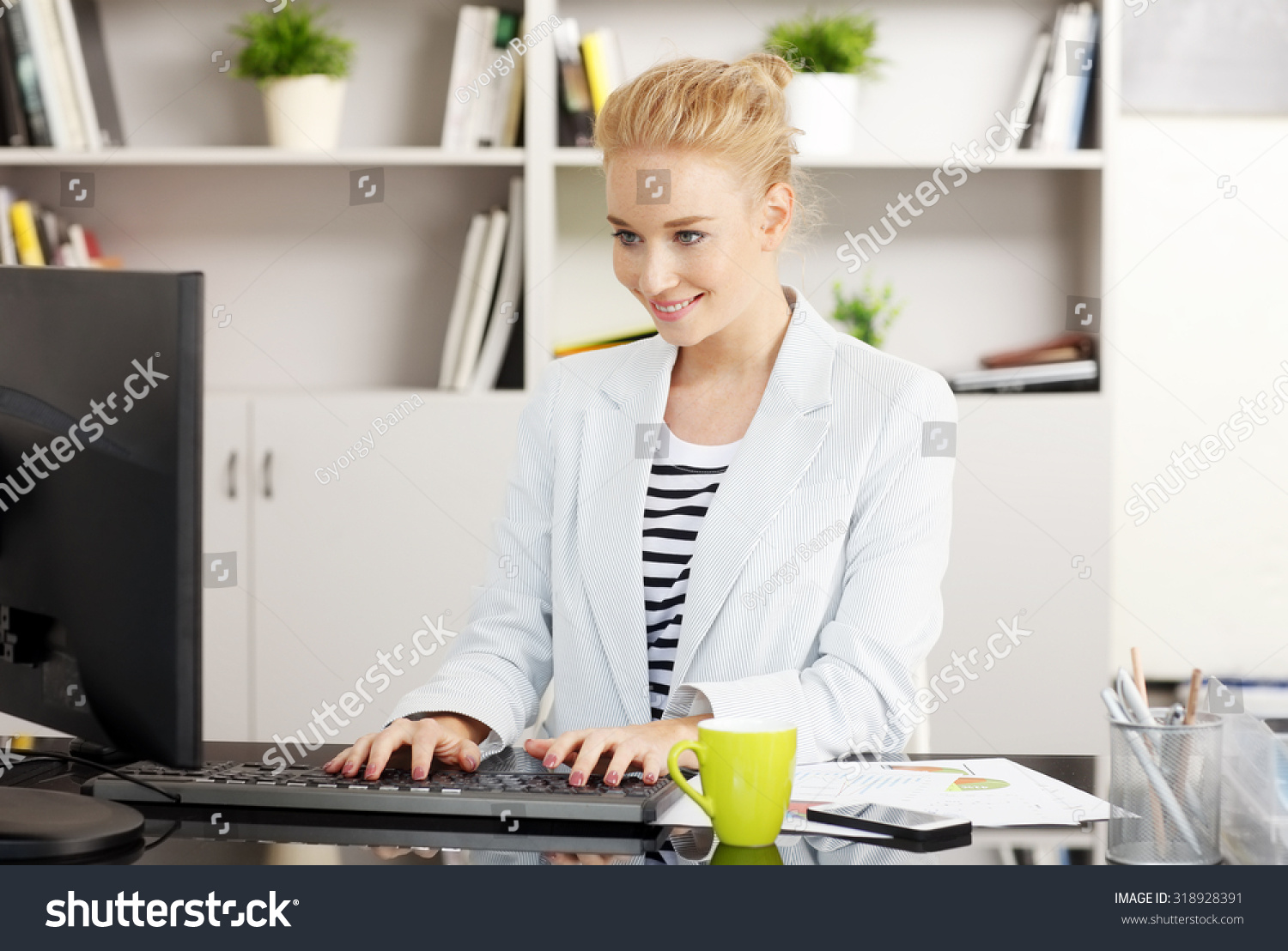 Portrait young assistant typing on keyboard stock photo 318928391 shutterstock - Post office working today ...