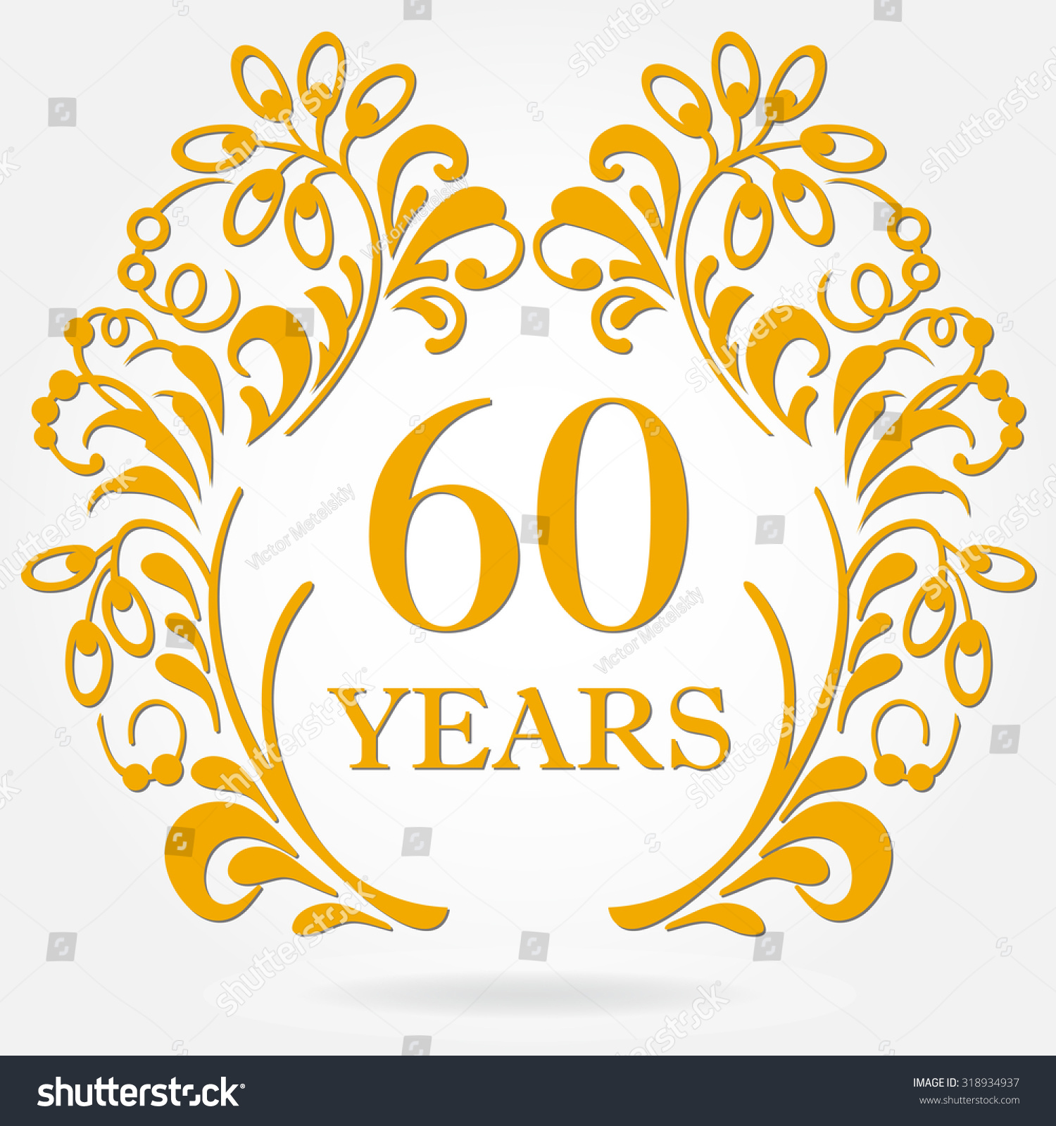60 Years Anniversary Icon Ornate Frame Stock Vector