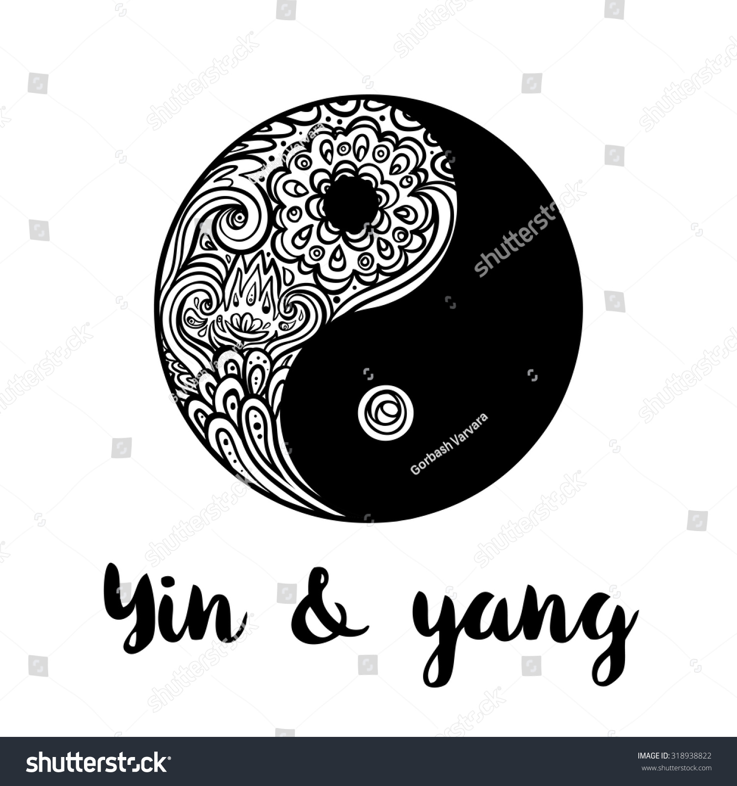 Yin yang decorative symbol hand drawn stock vektor for Architecture yin yang