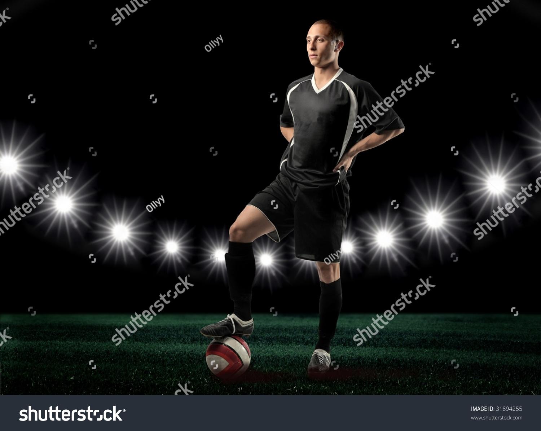 portrait soccer player stadium stock photo 31894255