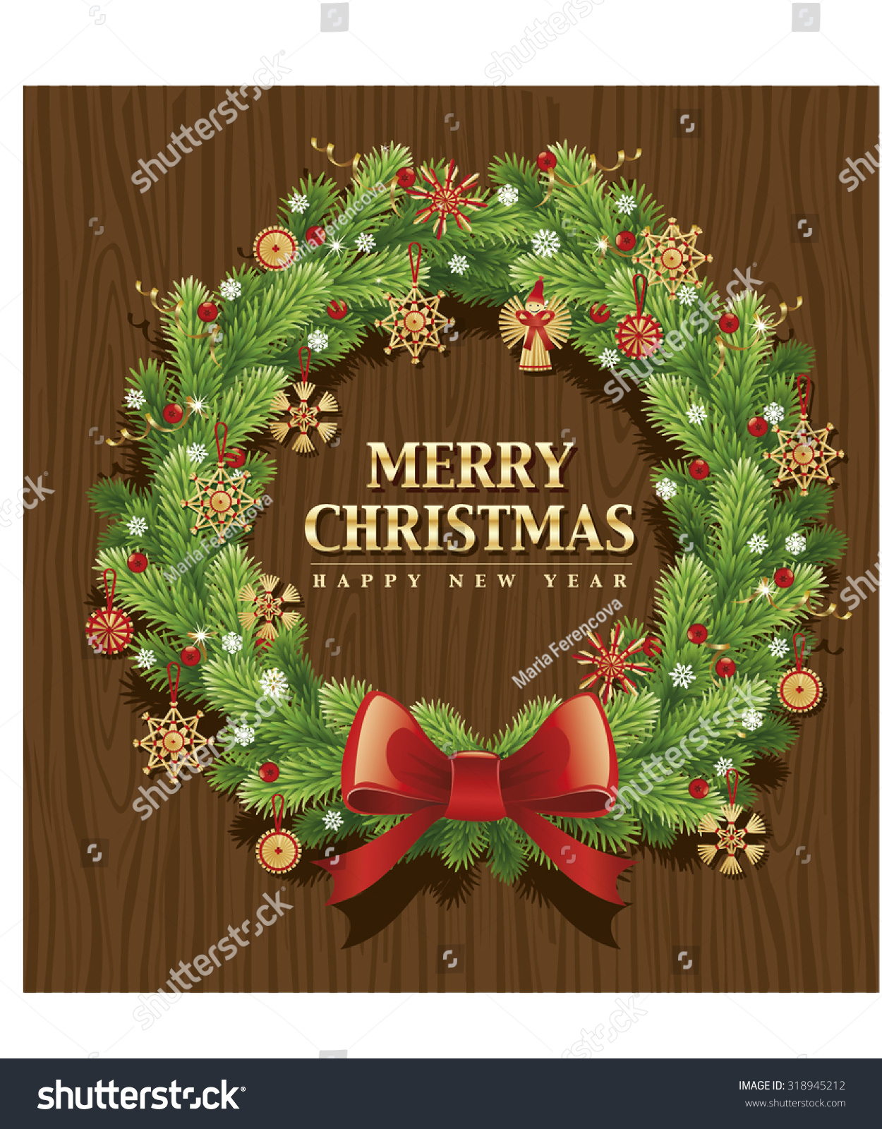 Why is holly a traditional christmas decoration - Merry Christmas Wreath Background With Traditional Straw Decorations