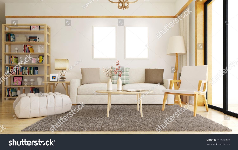 Living Room Empty White Picture Frames Stock Illustration 318952892 ...