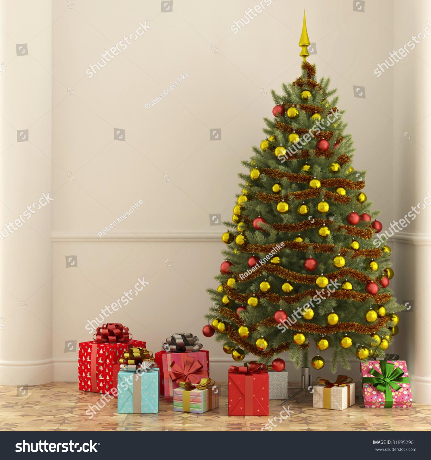 Many Gifts Under Christmas Tree Christmas Stock Illustration ...