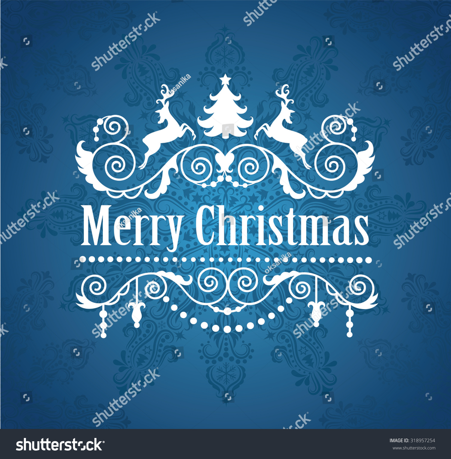 Merry Christmas Greeting Card Stock Vector Royalty Free 318957254