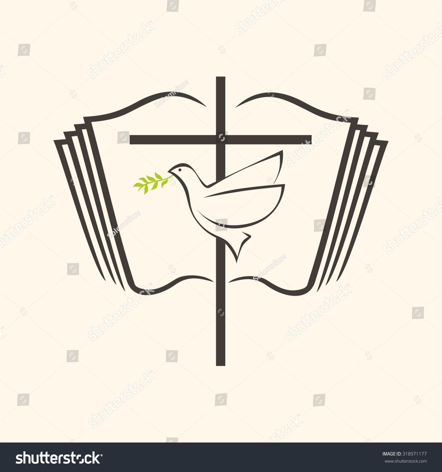 Dove Cross Icon Holy Spirit Christianity Stock Vector Royalty Free