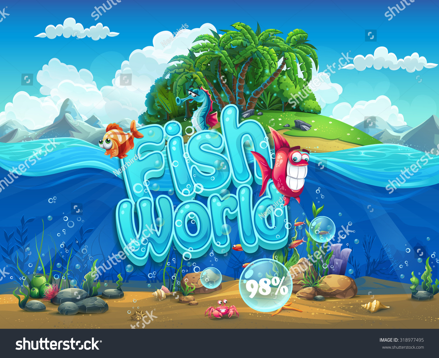 Fish world illustration boot screen computer stock vector for Fishing world game