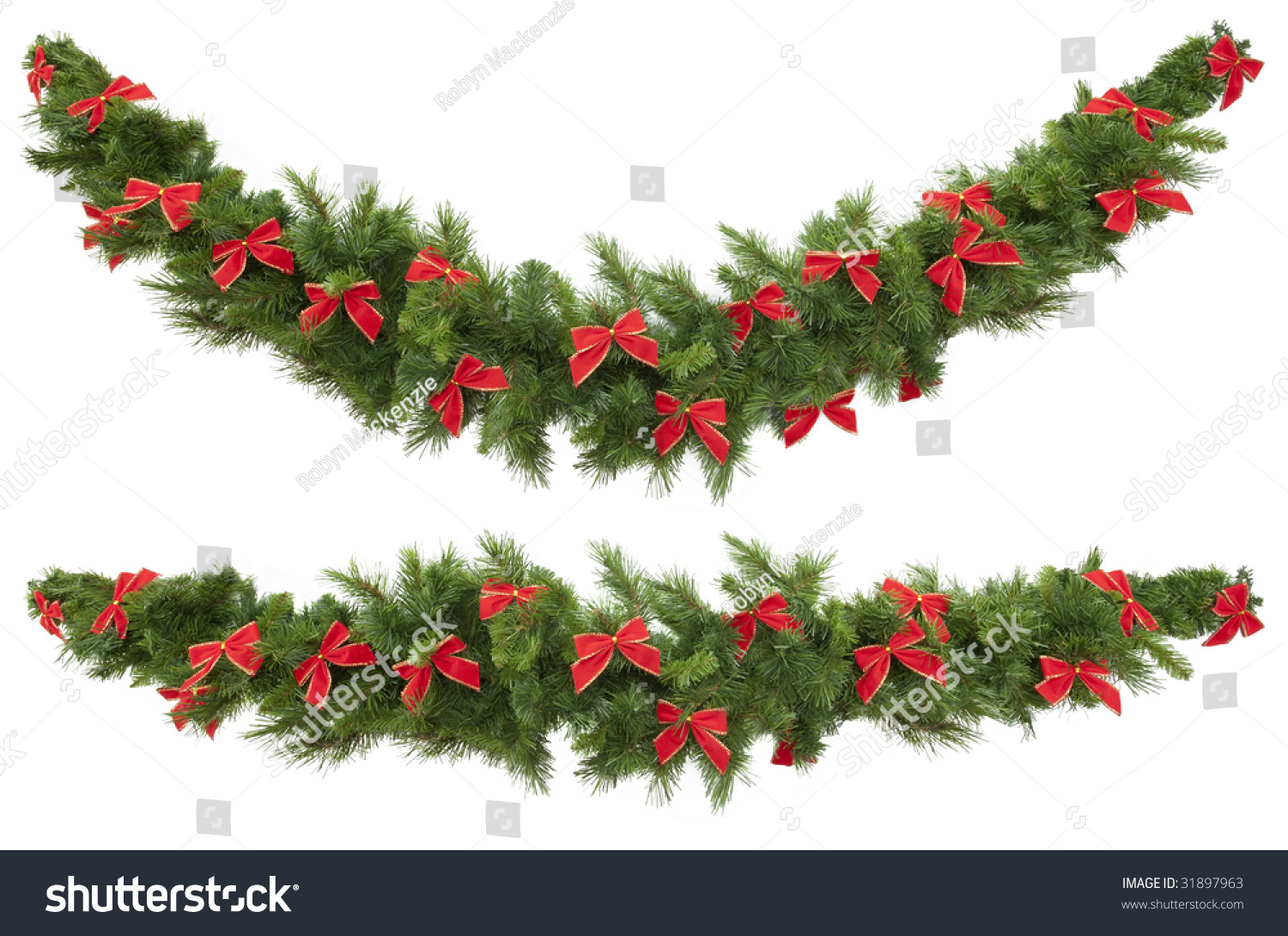 Christmas Garlands Decorated Red Velvet Bows Stock Photo