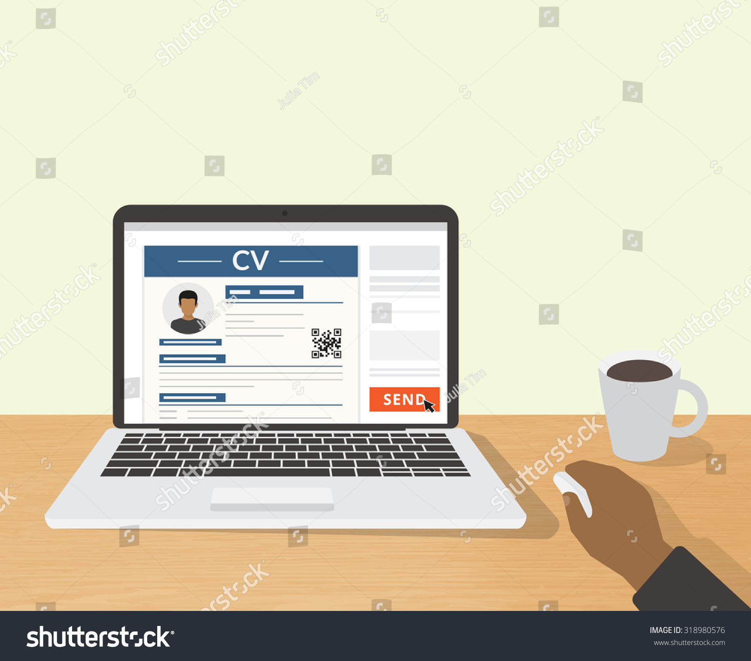 realistic desktop design cv template presentation stock vector 318980576
