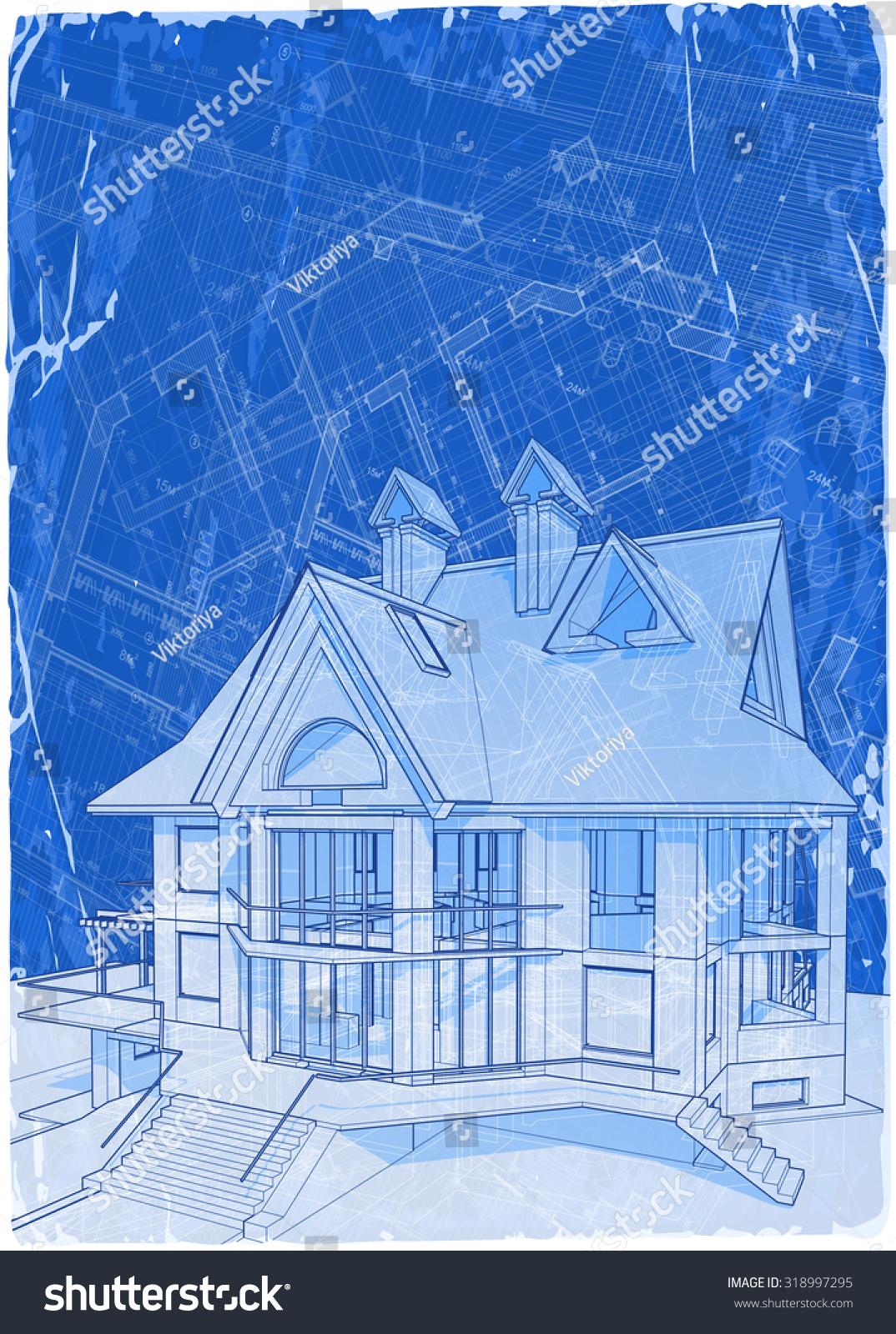 Architecture blueprints 3d 3d architectural home design drawings architecture blueprints 3d architecture blueprint 3d house vector illustration eps10 blueprints u malvernweather Image collections