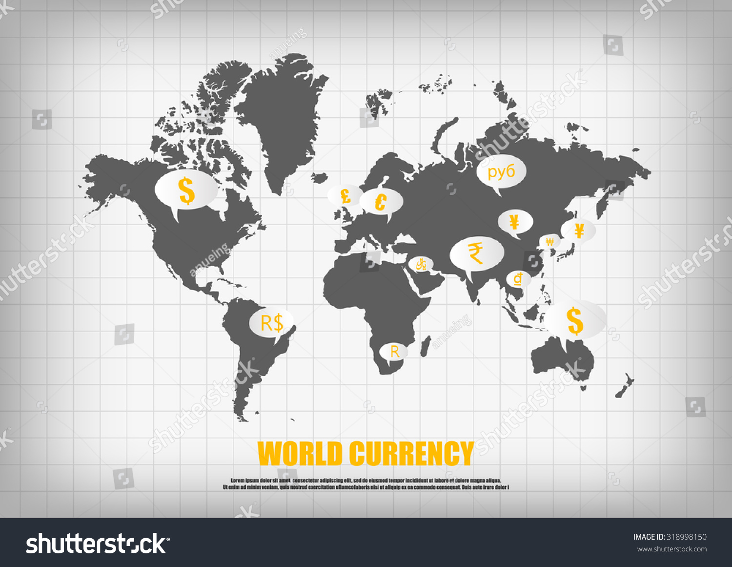 Vector world map currency bubble quotes stock vector 318998150 vector world map and currency in bubble quotes for each country gumiabroncs Images