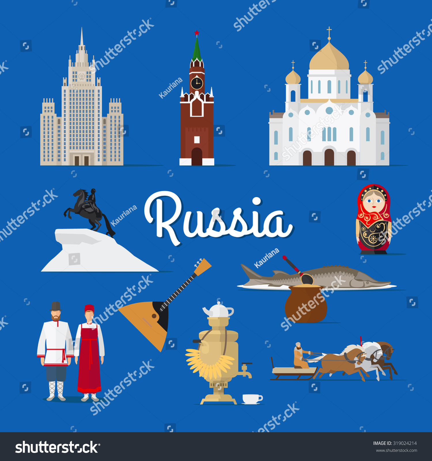 russian landmarks culture moscow russia vector stock vector russian landmarks and culture moscow in russia vector illustration traditional costume
