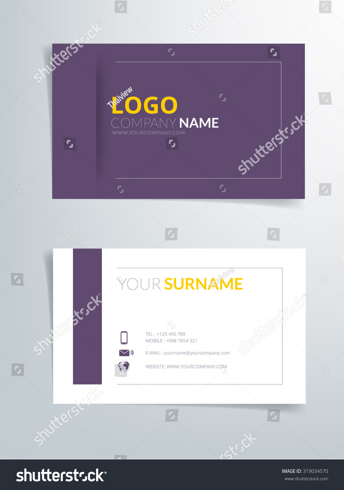 Business Card Template Vector Background Purple Stock Vector ...