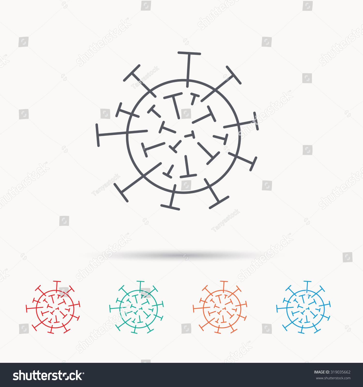 Virus Icon Molecular Cell Sign Biology Stock Vector 319035662 ...