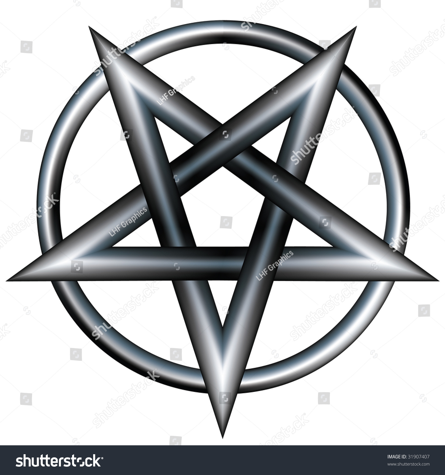 Pentagram Inside Circle Vector File Contains Stock Vector Royalty