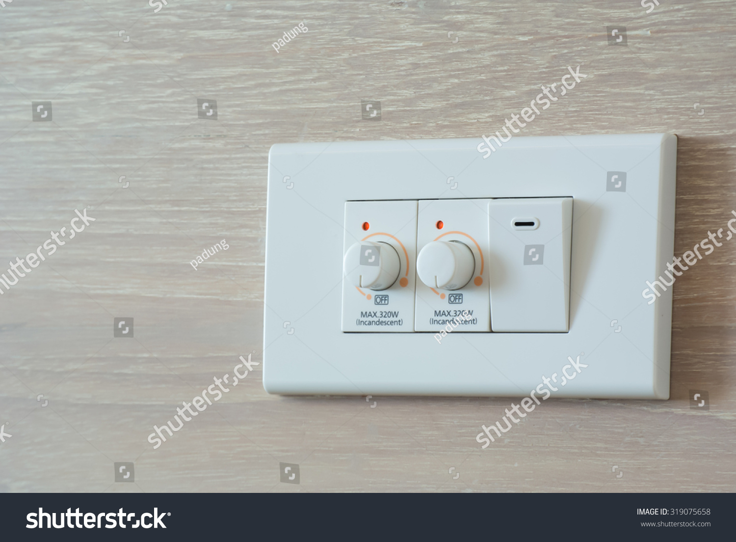 Two Dimmer Switch One Light Switch Stock Photo (Edit Now) 319075658 ...