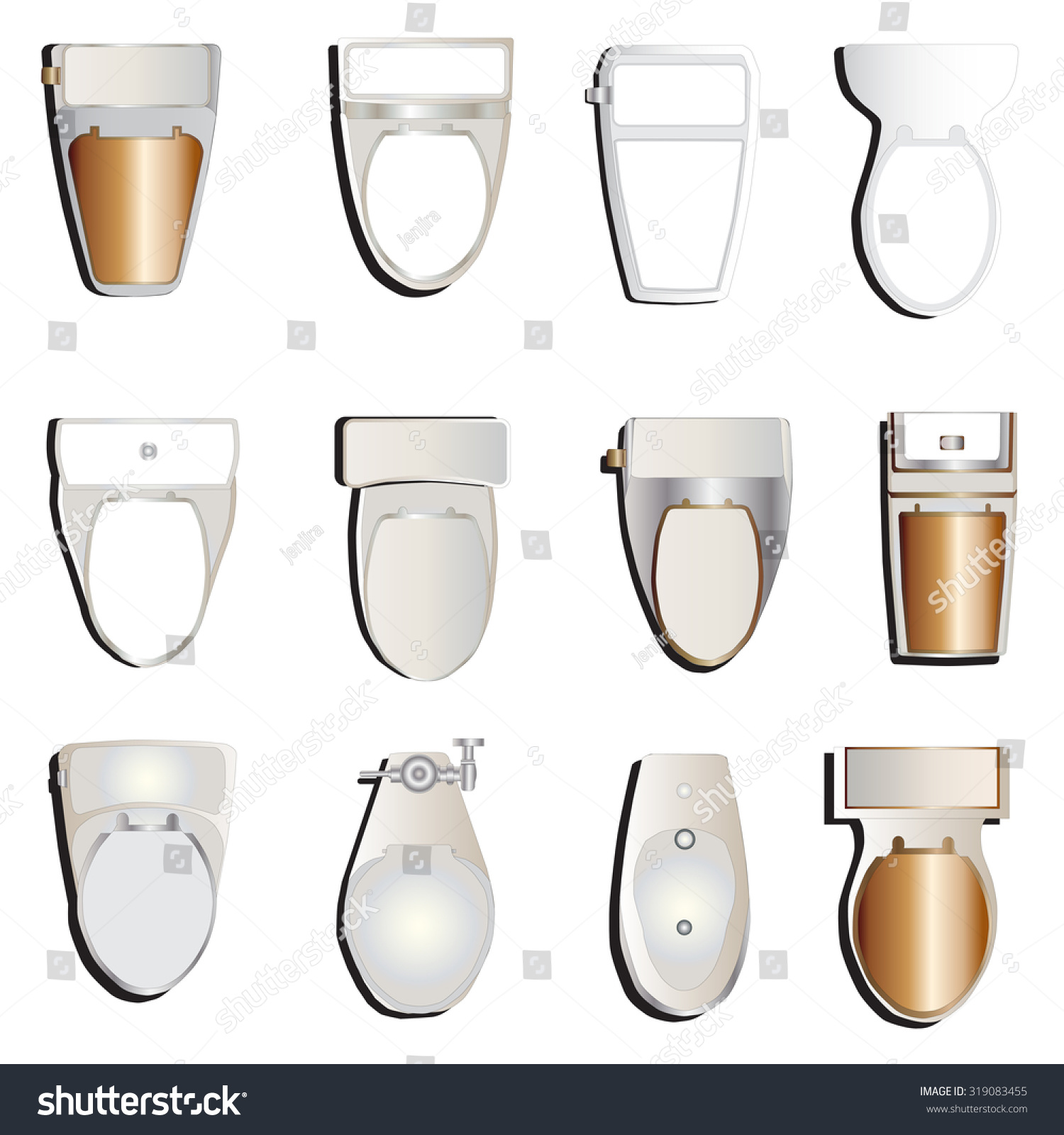 Toilet Top View Set 1 Interior Stock Vector 319083455