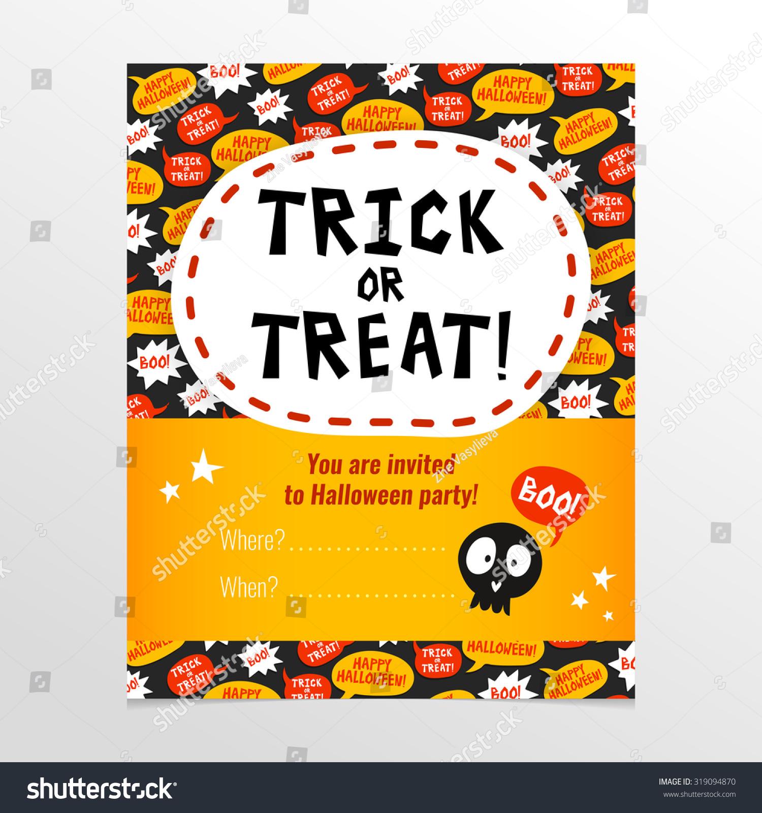 Funny Bright Vector Halloween Party Invitation Stock Vector ...
